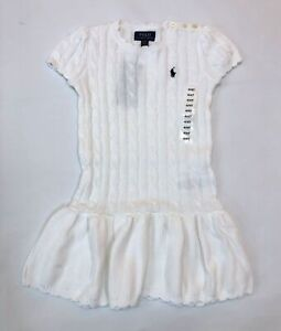 Polo Ralph Lauren Girl's White Cable Knit Pony Logo Sweater Dress