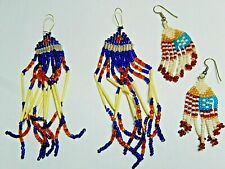Hand Beaded Porcupine Quills Pierce Earrings  Lot of Two