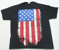 XL Fruit of the Loom Black American Flag Tee T-Shirt Top Cotton Extra Large Mens
