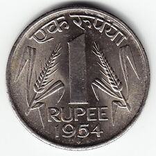 INDIA 1 Rupee 1954 KM7.2 Nickel Bombay Mint 1-year type TOP GRADE - VERY RARE !