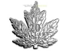20 $ Dollar Maple Leaf Shape Formé Canada Canada 2015 PP 1 Once Once Argent