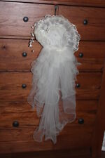 Vintage wedding hat with veil off white ivory beading embroidery flowers