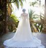 Custom Chiffon Long Cape Wedding Wraps Hooked Jackets White&Ivory Bridal Cloak