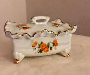 Roses Trinket Box with Lid Porcelain UCGC Korea Gold Accents Pearl Finish