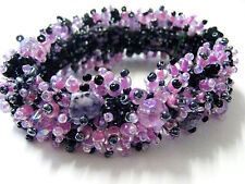 Amethyst Chip stone Black pink Lilac Beaded Cluster Bracelet Fairtrade Arty