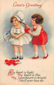 """Valentines Greetings Children """"Love's Greeting"""" Clapsaddle Postcard AA30004"""