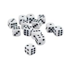 50 X 12mm Opaque Six Sided Spot Dice Games D6 D&d RPG Playing Dice White