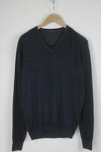 TRUSSARDI JEANS Men's M 100% Wool Elbow Patch Denim Pullover / Sweater 27225_JS