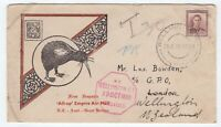 New Zealand 1938 Flight Cover Empire Air Mail UNCLAIMED WELLINGTON red handstamp
