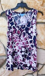 SIMPLY VERA WANG  Boho Floral Abstract Artsy XL Sleeveless  Top 100% RAYON