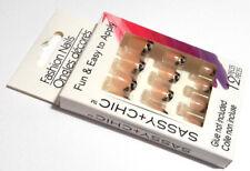 SASSY + CHIC™ FASHION NAILS 12 PIECES FUN & EASY TO APPLY METALLIC LEOPARD PRINT