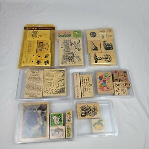 Lot of 7 Assorted Wood Mounted Rubber Stamp Various Brand Mixed Themes Sizes