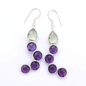925 Sterling Silver Bridal Wedding Gift Amethyst Green And Purple Women Earrings