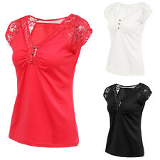 Womens Summer Short Sleeve Shirt Casual Blouse Loose Lace Tops T Shirt NEW