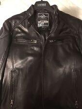Mens William Rast Black Leather Jacket w/ Hood