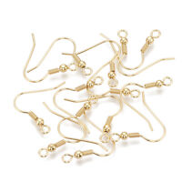 50pc Gold Plated 304 Stainless Steel Earring Hooks Hang Loop French Earwire 20mm