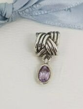 Authentic Pandora 'Tied Together' Silver Plaited Amethyst Purple Charm 790476PAM