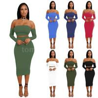 Women 2 Piece Bodycon Two Piece Lace Up Crop Top and Skirt Set  Dress Party R3A7
