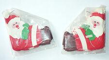 2 Vintage Christmas Paper Santas Garland Unused Nip