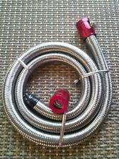 "Fuel Line Kit  3/8"" I.D.Hose X 3' ENGINE STAINLESS STEEL-FLEX BRAIDED Red Clamps"
