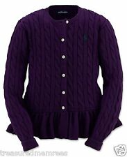 Polo Ralph Lauren Long Sleeve Cable Knit Peplum Cardigan Sweater ~ Large (12-14)