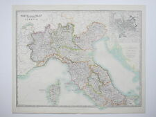 ITALY NORTH CENTRAL CORSICA ROME 1914 Large Map Johnston