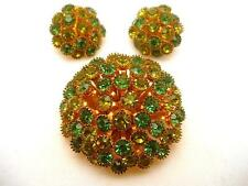 Domed Rhinestone Brooch and Earring Set Vintage Two Shades of Green