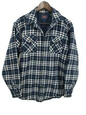 Wrangler Mens Lined Insulated Flannel Button Shirt Size M Blue Plaid Chore Barn