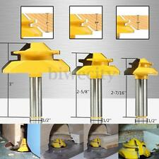 "3Pcs 1/2"" Shank 45° Degree Small Lock Miter Router Bit 2-7/16"" 2-5/8"" 3"" Cutter"