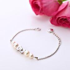 Hello Kitty Silver 925 x Natural Akoya Cultured Glossy Pearl Ribbon Bracelet F/S