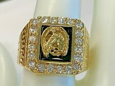 14K SOLID YELLOW GOLD CZ HORSE MENS RING ESTATE PPXXX