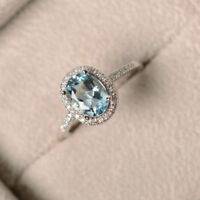 2.30 Ct Real Diamond Aquamarine Ring 14K Solid White Gold Wedding Rings Size N P