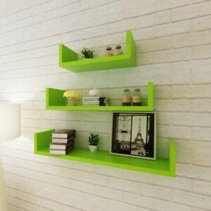 Set Of 3 Hanging Display Shelves Book Storage Decor Holder Floating Wall Shelf