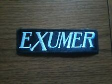 EXUMER,SEW ON WHITE EMBROIDERED PATCH