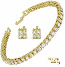 Bracelet + Earrings Iced Out Cz Set 14k Gold Plated Luxury Hip Hop Fashion