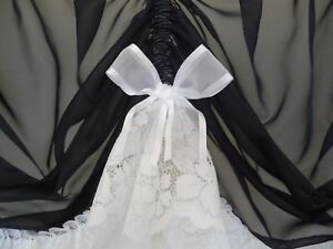 2.25m x 50cm drop BLACK Voile Sheer Austrian Curtain Valance White Lace and Bows