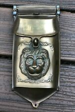 ANTIQUE VINTAGE HEAVY SOLID BRASS LION HEAD OUTDOOR MAILBOX