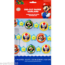 SUPER MARIO PAPER GARLAND ~ Birthday Party Supplies Decorations Nintendo Luigi