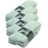 3-12 Pairs Mens Gray Sports Athletic Casual Crew Socks Cotton Size 9-11 10-13