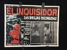 """1975 El Inquisidor Las Brujas Desnudas Horror Original Mexican Lobby Card 16""""x12"""