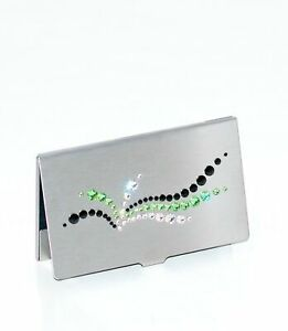 Luxury Business Card Case with Swarovski Crystals, Silver/Black/Green