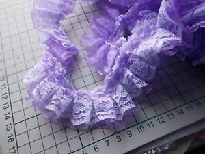 White Lace over Gathered Organza Ribbon-choose Pink, White, Black, Hot Pink,Blue