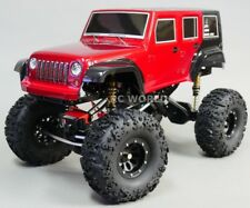 For Axial SCX10 Truck Body Shell JEEP WRANGLER RUBICON PAINTED + TRIMMED RED