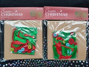 2 packs of 2 Christmas Card Kits Paper Craft Buttons Ribbon Green Red Blue