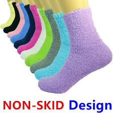 3 Pairs For Womens Winter Home Cozy Fuzzy Non-Skid Solid Slipper Socks Size 9-11