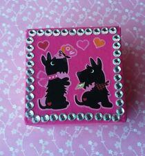 Handmade Scotty Dog & Hearts Pink Paper Mache Trinket Jewelry Gift Box Valentine