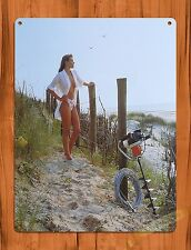 """TIN SIGN """"Stihl Calender Girl Fence"""" Vintage Pin Up Rustic Wall Decor"""