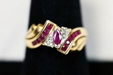 10k Yellow Gold Marquise Ruby and Diamond Fashion Ring Sz 7.25!