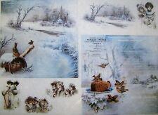 Rice Paper for Decoupage Scrapbook Craft Village Bird Winter 232