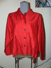 CHICO'S 2 RED BLOUSE XL Long Sleeve BUTTON DOWN 100% Silk COLLARED Shirt XL Nice